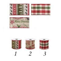 Rollo lazo cinta regalo Navidad en tonos verdes y rojos 3 modelos 6,3 cm x 3 m