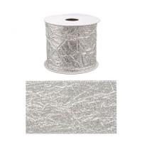 Rollo lazo cinta regalo Navidad plateada metalizada 6,30cm x 4 m
