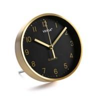 Reloj sobremesa aluminio dorado y esfera negra Ø16.2 cm