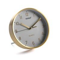 Reloj sobremesa aluminio dorado y esfera blanca Ø16.2 cm