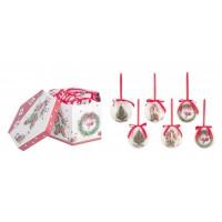 Bola árbol de Navidad blanca y roja estampado vintage árbol, calcetines o corona Cordier 7,5cm