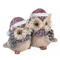 Figura navideña pareja Buhos en madera y poliresina 15,5x7,5x10,5h cm