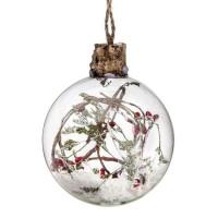 Bola árbol de Navidad cristal con nieve y ramas con bolitas rojas en el interior 8cm