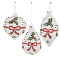 Bola árbol de Navidad cristal blanco estampado acebo y lazo verde y rojo 3 formas 8cm