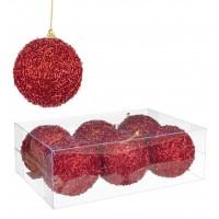 Set 6 bolas árbol de Navidad rojas con abalorios fucsia relieve 8 cm