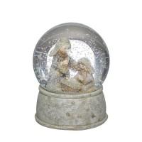 Bola de nieve con Belén navideño blanco y base dorada Ø10xh15 cm
