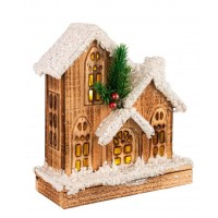 Casita de madera nevada Navideña composición de 3 con luz led Domus 21x9x25h cm