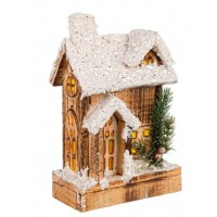 Casita de madera nevada Navideña con porche y luz led Domus 15x7x24h cm