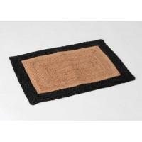 Felpudo rectangular yute natural y borde negro 70x45 cm