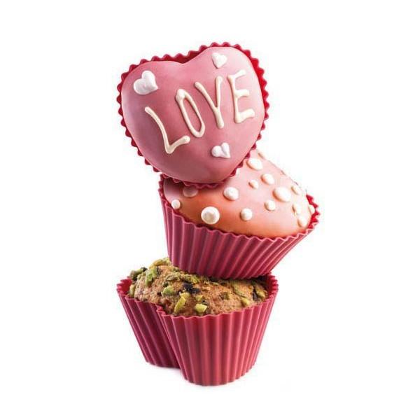 Moules silicone cupcake forme de coeur 6 pcs