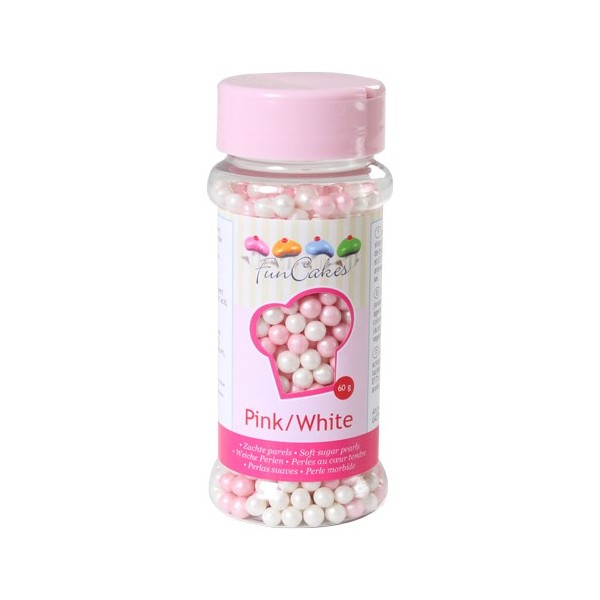 Sprinkles pink and white pearls 60gr