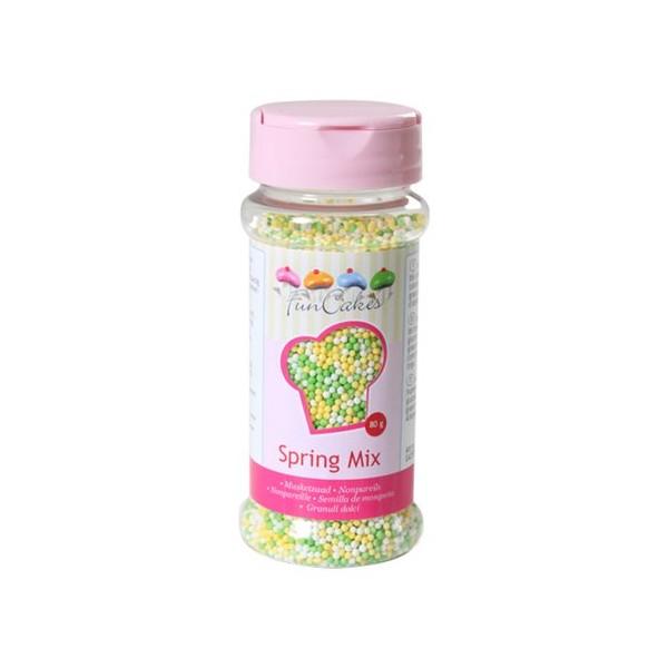 Sprinkles mini-boules vert, jaune et blanc 80gr
