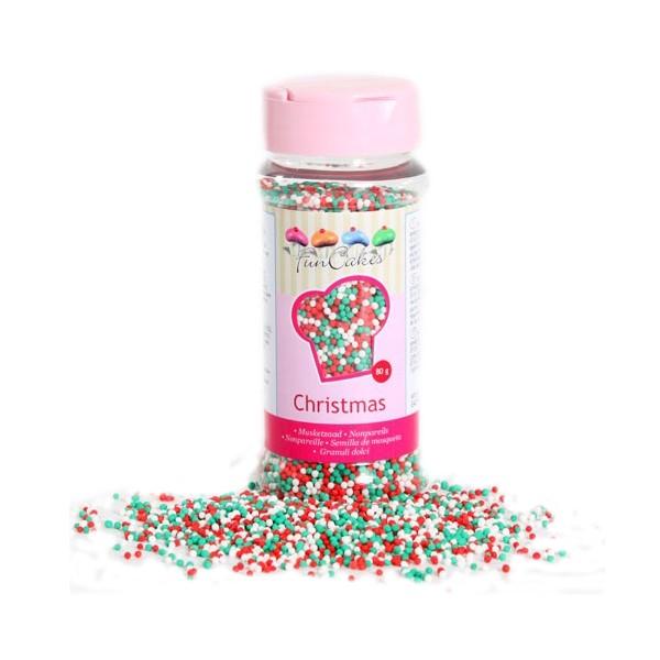 Sprinkles mini-boules rouge, vert et blanc 80gr
