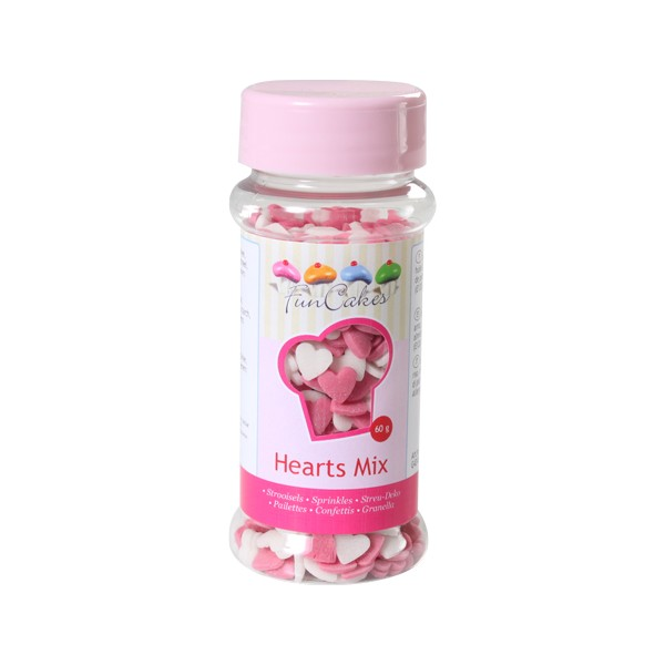 Sprinkles pink and white hearts 60gr