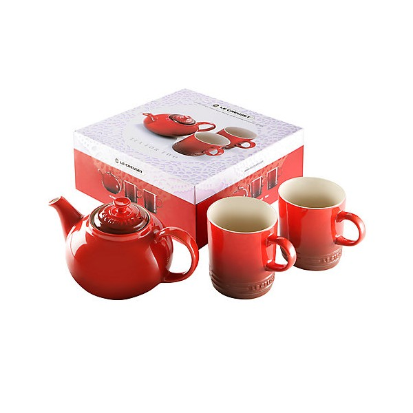 Tea for two tetera + 2 tazas cereza Le Creuset