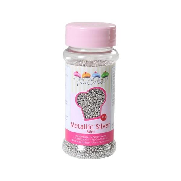 Sprinkles perlas plateadas mini 2mm 80gr