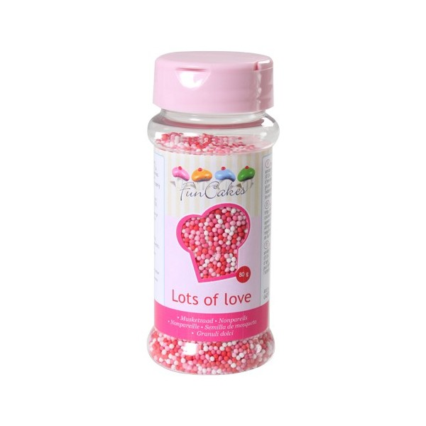 Sprinkles mini red, pink and white balls 80gr