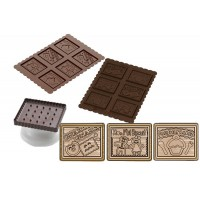 Chocolat cookie silicone mold + square cookies cutter Gnam Gnam Silikomart