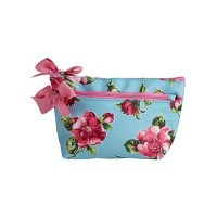 Cosmetics bag blue flowers magnolias
