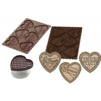 Molde silicona galletas chocolate + cortador corazón