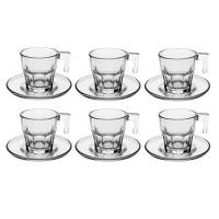 Juego de 6 tazas de café con plato cristal transparente Casablanca