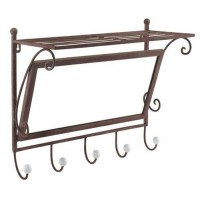 Wall coat rack of iron with mirror and 5 hangers