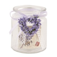"Vaso cristal lavanda y puntilla ""Tea light"""
