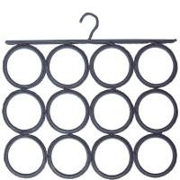 Grey ties and scarves hook 12 circles