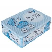 """Caja metálica azul """"La caja del bebé"""""""