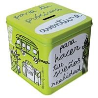 "Green metal/Money box ""Para tu próxima aventura"""