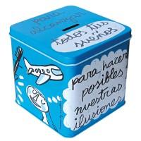 Caja metálica/Hucha azul Para alcanzar todos tus sueños