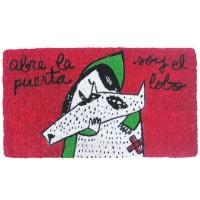"""Green doormat """"Abre la puerta, soy el lobo"""""""