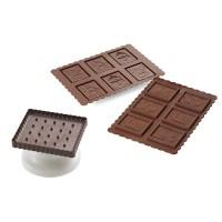 Moule chocolat silicone + coupeur biscuit carré Nöel Silikomart