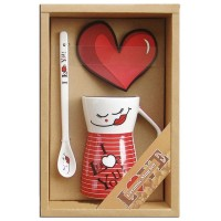 "Set mug + Ceramic spoon + Coasters heart ""I love you"""