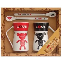"Set 2 mugs + Ceramic spoons ""I love my bear"""