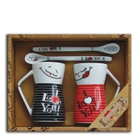 "Set 2 mugs + Ceramic spoons ""I love you"""
