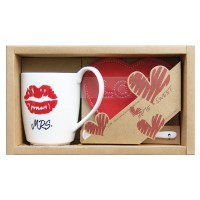 "Set mug + Ceramic spoon + Coasters heart ""mrs."""