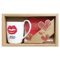 "Set mug labios + Cucharilla+ Posavasos corazón ""Mrs."""