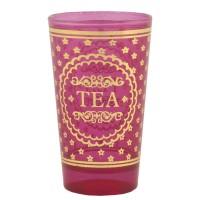 """Vaso cristal rosa arabesco y lunares plateado """"Tea"""""""