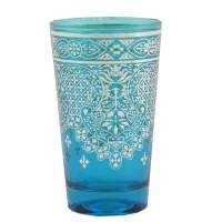 Vaso cristal azul turquesa arabesco plateado