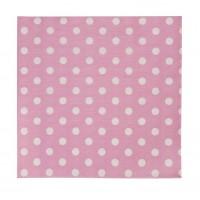 Servilletas papel rosas con topos blancos