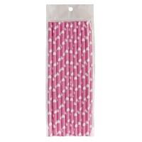 Pailles en papier roses avec des coeurs blancs