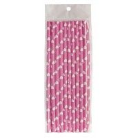 Pink paper straws with white hearts