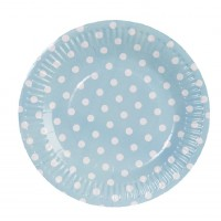 Blue round paper plates with white polka dots