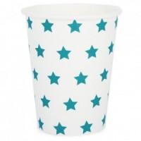 Gobelets en papier blanc avec des étoiles bleues