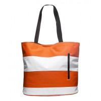 Beach bag orange and white stripes