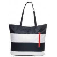 Beach bag blue and white stripes