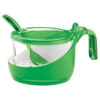Green bicolor sugar pot with spoon Guzzini