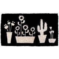 Felpudo negro estampado de Cactus en macetas 70x40cm