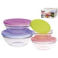 Set 4 bowls cristal con tapas de colores